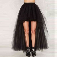 2017 High Quality Tulle Skirt Graceful Black Long Tulle Skirts Womens High Low Black Skirt Evening Party Skity Ankle Length