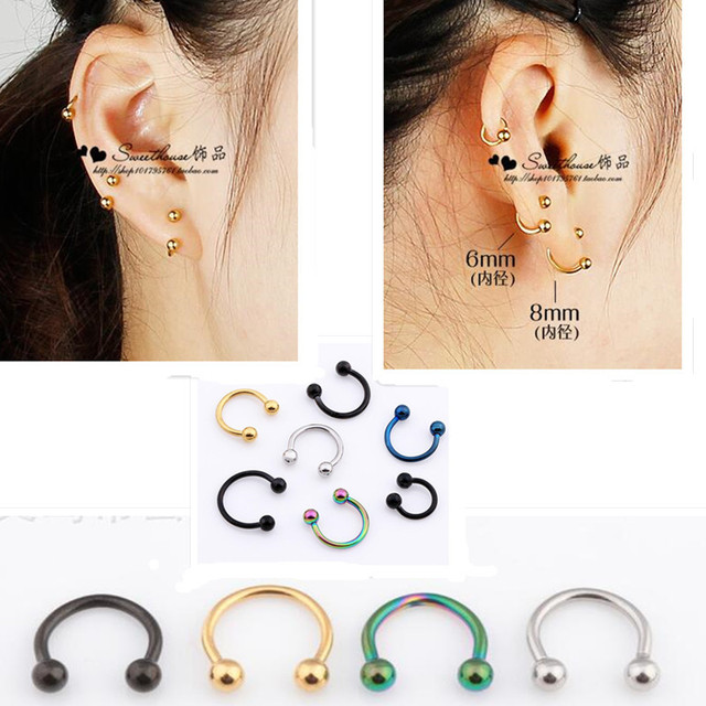 Stainless Steel False Lips Nose Circle India Clip Eyebrow Nail Piercing Female Jewelry Earrings Single Male