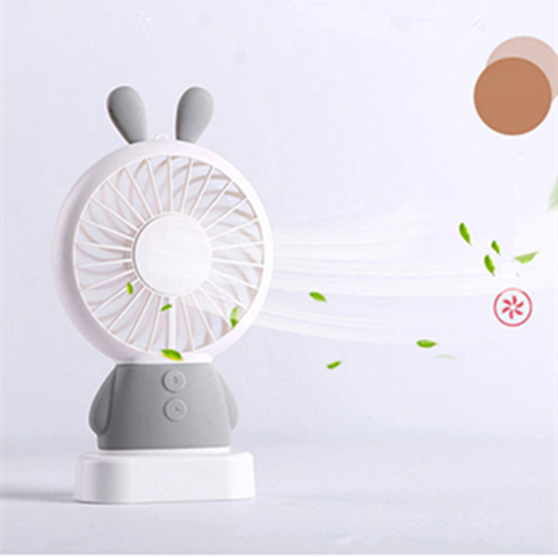 CHICLITS USB Fan Mini Cartoon Rabbit/Bear Luminous Colorful Handheld Chargeable Fan For Office Student Dormitory For Kids Gifts