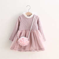 2016 Hot Sale Autumn Kids Knitted Clothes 2 To 6Y Baby Girls Dress Baby Clothing Baby