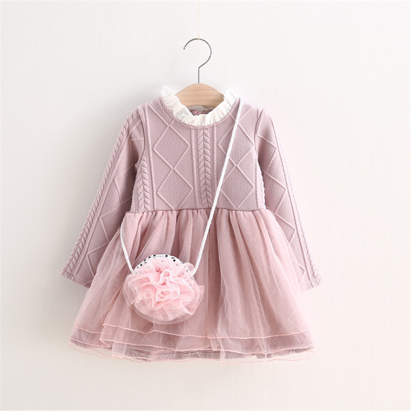 MBBGJOY 2-6years Baby Girls Knitted Dress Winter Autumn Kids Tutu Dresses Long-sleeved Baby Girl Toddler Clothing Knit Mesh платье для девочек unbrand baby v 2 6 kids dress