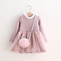 MBBGJOY 2-6years Bebek Kızlar Örme Elbise Kış Sonbahar Çocuklar Tutu Elbiseler Uzun kollu Kız Bebek Yürüyor Giyim Örgü Örgü