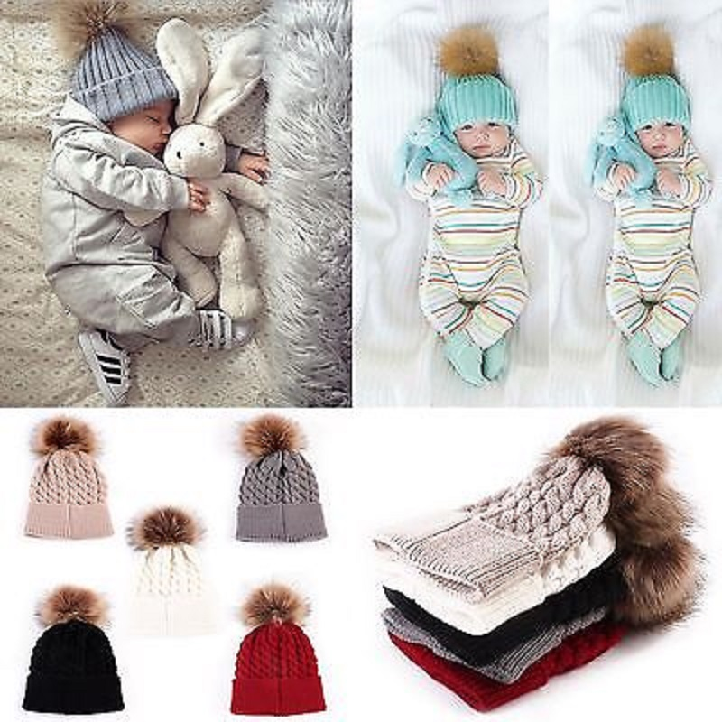 2017 Baby Toddler Girls Boys Warm Winter Fur Pom Hat Knit Beanie Crochet Ski Ball Cap hot sell hot winter beanie knit crochet ski hat plicate baggy oversized slouch unisex cap