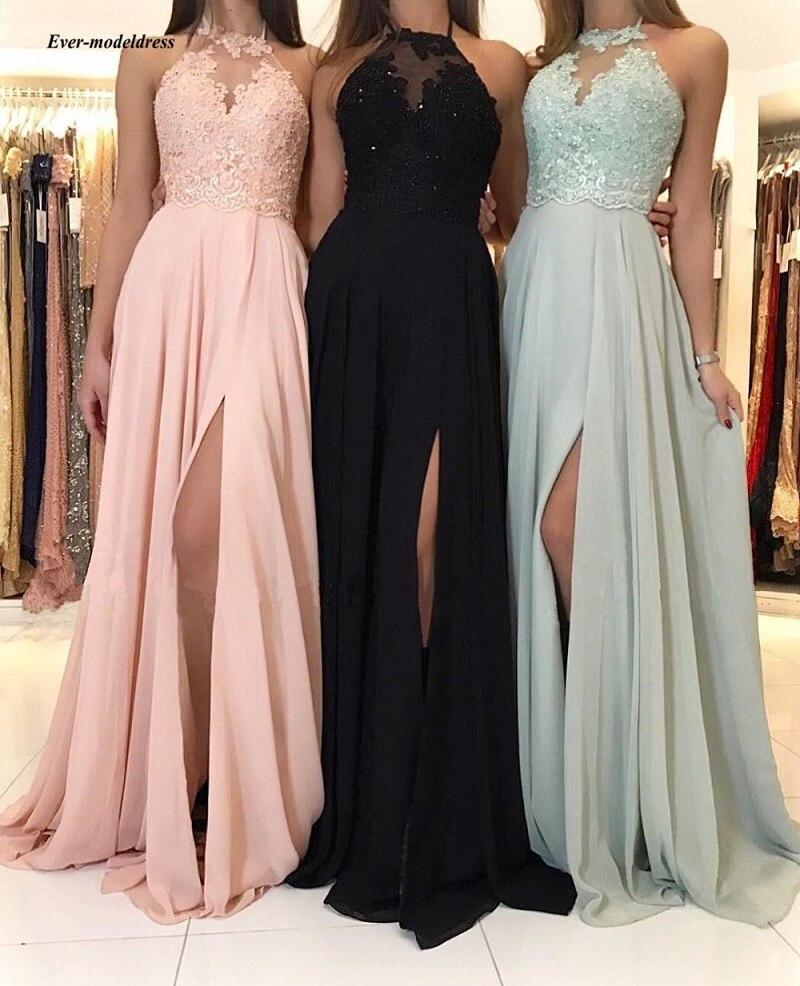 Sexy longues robes de bal 2019 Split Appliques perlées en mousseline de soie robes de soirée formelle robe de soirée robe de festa longo pas cher