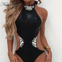 NATTEMAID High Quality New Women Solid Pattern Bodysuit Hollow Crystal Beach Wear One Piece De Bain