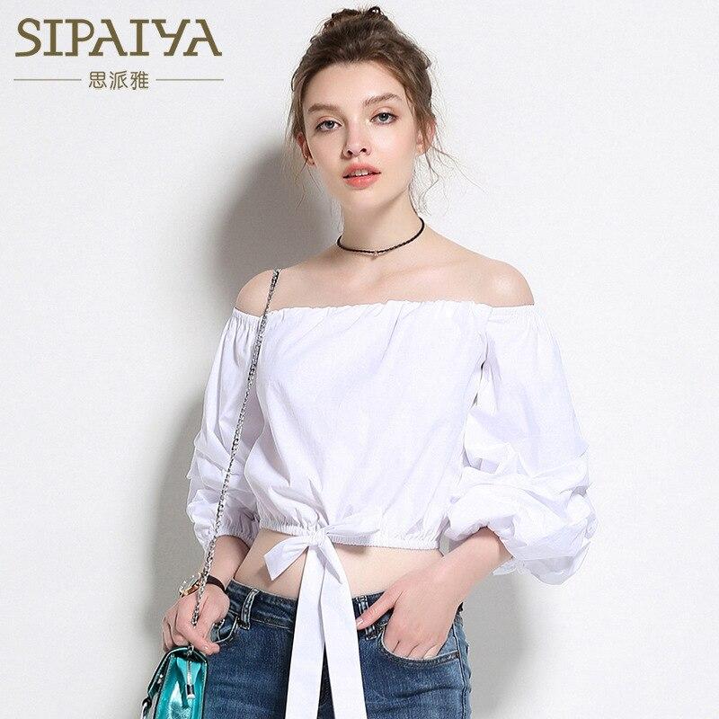 2017 nouveau été coréen bretelles Slash cou femmes Blouse chemise Bowknot conception décontracté manches longues bouffantes femmes Top Blusas Feminina