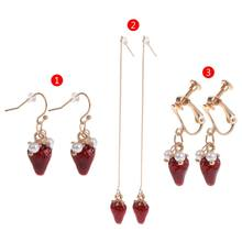 Strawberry Earrings Long Drop Ear Stud Clip Cute Fashion Jewelry Brincos Pendant(China)