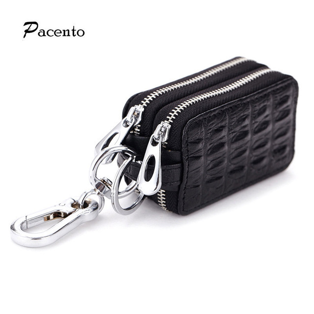 2017 Genuine Leather Purse Car Key Wallets Men Women Double Zipper Wallet Luxury Brand Short Purses Keychain Keysmart