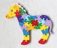 Nieuwe houten speelgoed dier vinger paard puzzel baby speelgoed gratis verzending