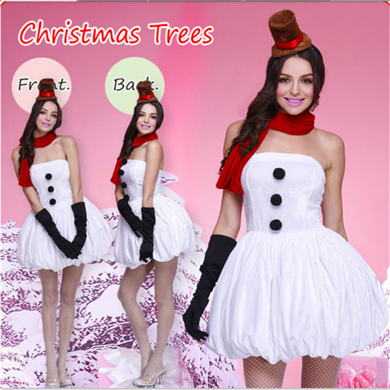 New arrival lovely women's lovely christmas white snowman anime cosplay costume High quality dress cute hot sexy christmas dress