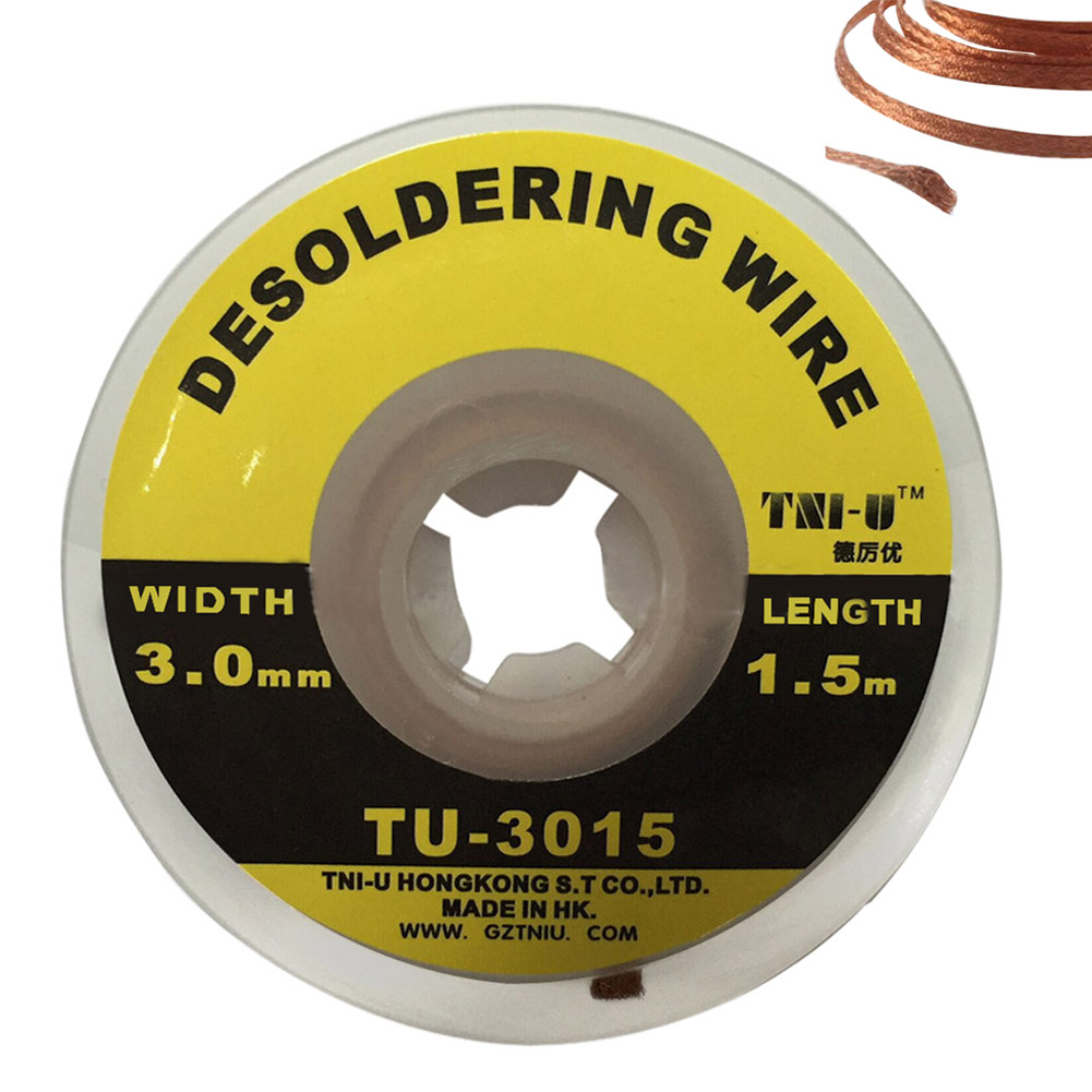 5 ft. 3 mm Desoldering Braid Solder Wire Wick Soldering Remover Sucker Cable Fluxed Flux Electrical Removers Copper Accessory goot desoldering wick remover 2 5mm x 1 5m