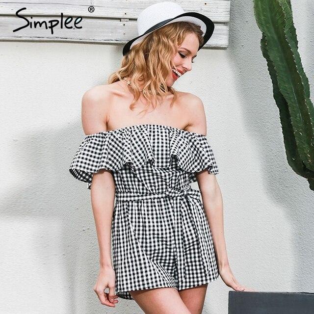 Simplee Off spalla tute delle donne della tuta del pagliaccetto tuta 2017 estate beachwear Increspature plaid tuta tutina body