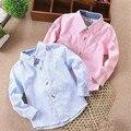 Moda camisas dos miúdos do bebê das meninas dos meninos roupas primavera & outono camisa de manga longa de algodão crianças casual Blusa roupas infantis menino