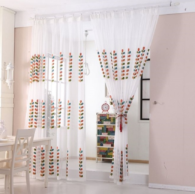 Creative Design Of High Quality Embroidered Chiffon Curtains