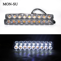 MON SU 2pc 12V 18W Led Car Day Time Running Light Work Light Bar 9Led Fog