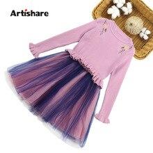 Girls Dress Sweatshirt Knitted Dresses For Girls Spring Autumn Girls Mesh Dress Kids Teenage Kids Girls Clothes 6 8 10 12 13 14