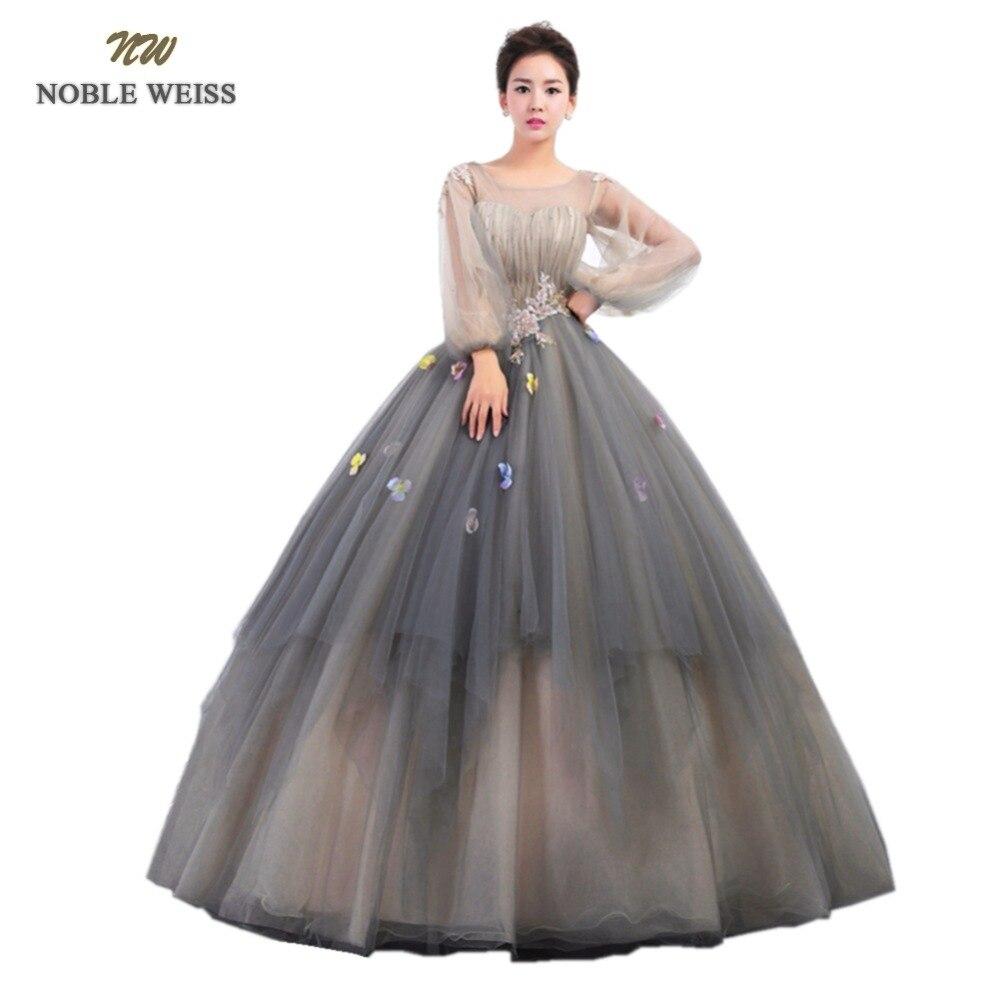 NOBLE WEISS robe de bal Quinceanera robes avec Appliques plissé fleur Tulle o-cou-parole longueur formelle robe de bal