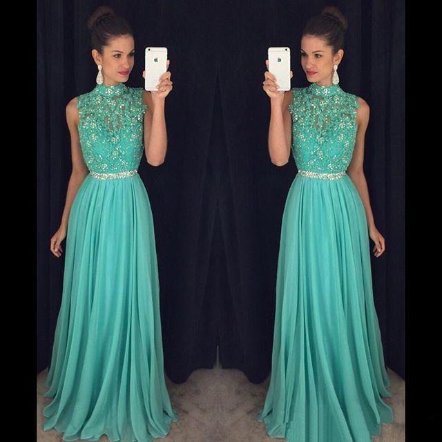 Хит 2017, Длинные вечерние платья Tiffany Blue с открытой спиной, а силуэт, большие размеры, без рукавов, для высокой шеи, платье для выпускного вечер