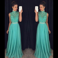 Hot 2017 Tiffany Blue Backless A Line Long Evening dresses Plus Size Sleeveless High Neck Prom Gown Party Dress Vestido de noche
