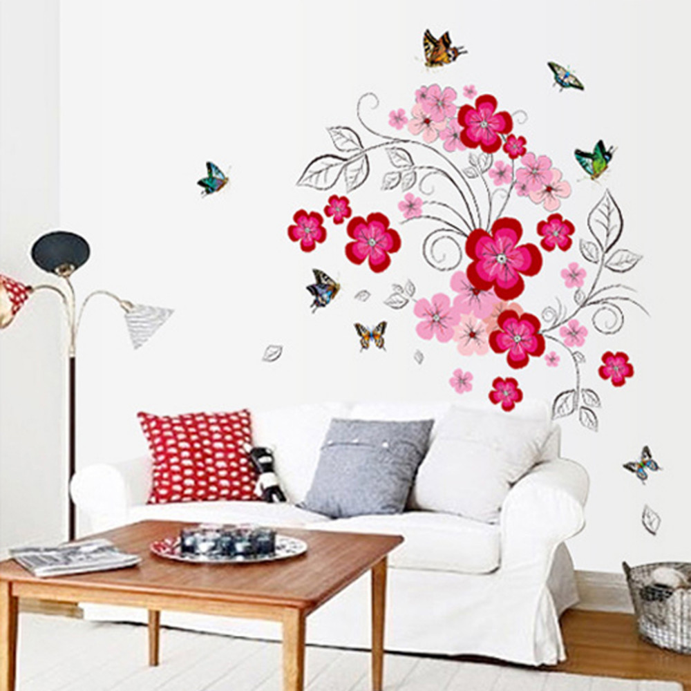Pink Flower Fairy Beautiful Colorful Butterfly Wall Stickers Kids Room Home  Decor Creative Gift Print Mural Art Diy Poster