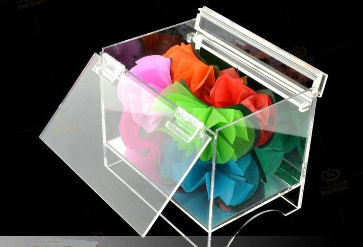 Boîte en cristal apparaissant fleur boîte transparente matériau acrylique-tours de magie de scène, magie du feu, gros plan, accessoires, accessoires