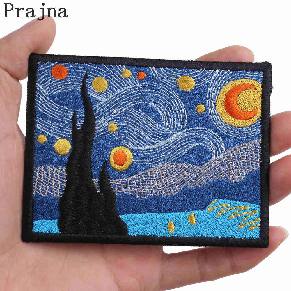 Prajna Van Gogh Patch Stalker Stranger Things Patch Art Parches Ironing Embroidered Iron On Patches For Clothes Fabric Bag Patch