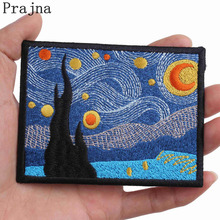 Prajna Van Gogh Patch Stalker Stranger Things Art Parches Ironing Embroidered Iron On Patches For Clothes Fabric Bag