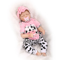55cm Silicone Vinyl Reborn Baby Doll Toys Lifelike Pink Princess Newborn Babies Doll Reborn Child Brithday