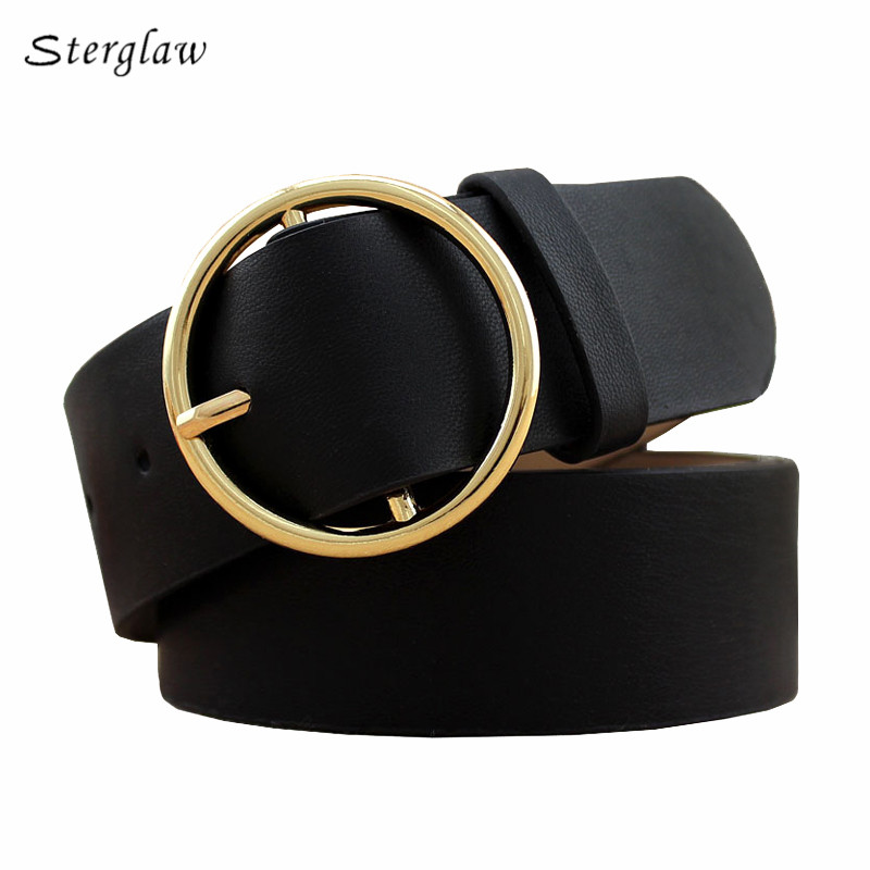 Fashion Classic round buckle Ladies wide belt Women's 2019 design high quality  female casual leather belts for jeans kemer F110