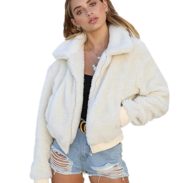 10a87dcc74cb0d LOSSKY biały zima polar kurtka damska jesień z długim rękawem solidna Crop  Faux futro płaszcz topy