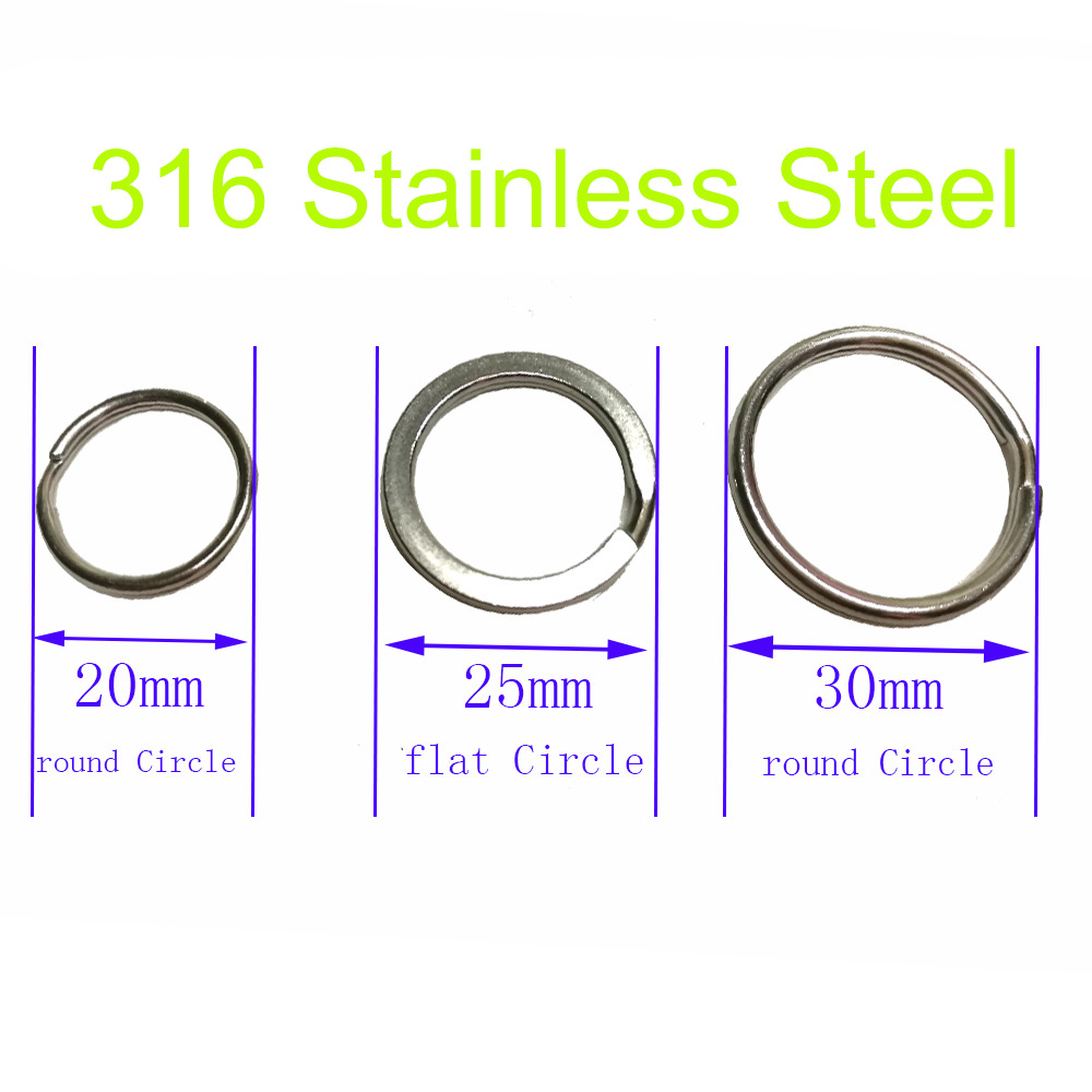 6PC 316 Stainless Steel Scuba Diving Split Ring Keyring Hook Loop Swimming Diver Outdoor Camping Gear Attachment 20 25 30mm