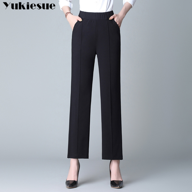 streetwear summer high wasit women's   pants     capris   for women trousers wide leg   pants   female straight   pants   Plus size 4XL black