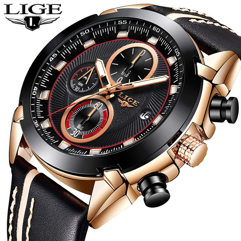 LIGE 2019 New Mens Fashion Sports Watch Outdoor Casual Chronograph Top Brand Luxury Gold Mens Watches Waterproof Quartz ClockLIGE 2019 New Mens Fashion Sports Watch Outdoor Casual Chronograph Top Brand Luxury Gold Mens Watches Waterproof Quartz Clock