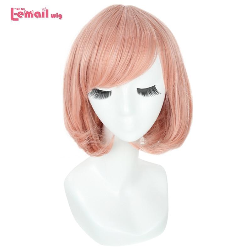 L-e-mail peruca kyoukai sem kanata mirai kuriyama cosplay perucas rosa curto bob cosplay peruca dia das bruxas resistente ao calor do cabelo sintético