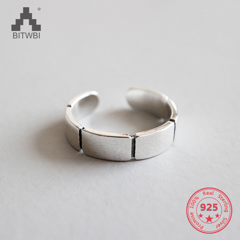 100% S925 Sterling Silver Fashion Retro Geometric Piece Ring Women Fine Jewelry100% S925 Sterling Silver Fashion Retro Geometric Piece Ring Women Fine Jewelry