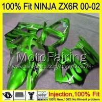 8Gifts Injection mold Body For KAWASAKI NINJA ZX 6R 00 02 INJ323ZX 6R ZX6R 00 01 02 ZX636 636 2000 2001 2002 Fairing Green black