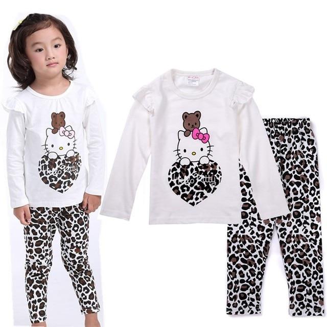 4ba47fcd91 Frühling Herbst Kinder Mädchen Jungen Hallo Kitty Nachtwäsche Langarm- schlafanzug Baumwolle Nachthemd Baby Kinder Cartoon