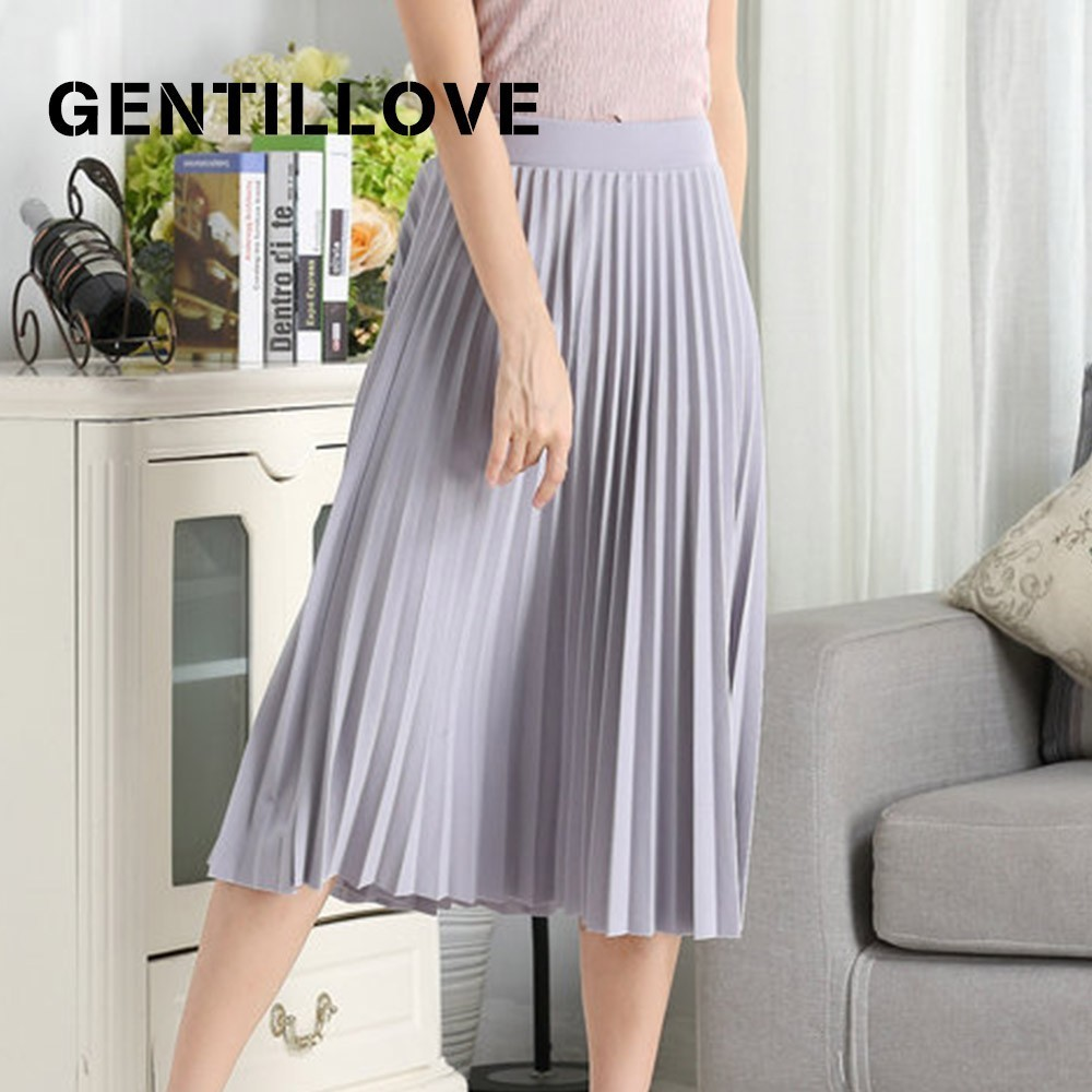 Gentillove High Waist Pleated Solid Color Half Length Elastic Skirt for Women Spring Autumn Fashion Midi Skirts Lady Black Pink