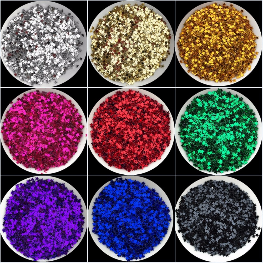 20g 3mm star shape sequin Silver-Base Colors PVC loose Sequins Paillettes for Nails Art manicure/wedding decoration confetti