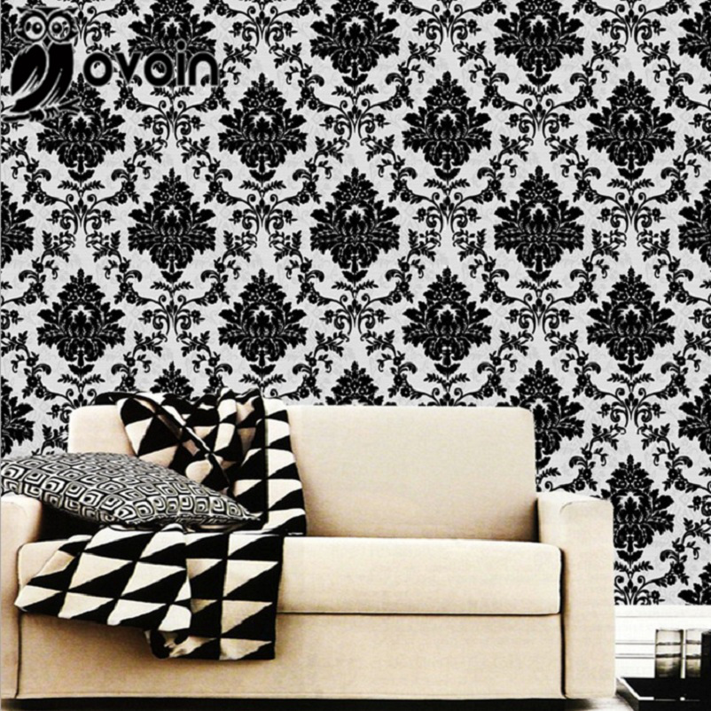 European style black and off white damask textured vinyl for Black white damask wallpaper mural
