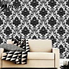 Европейский Стиль Черный и Белый Дамаск Текстурированные Винил ПВХ Обои Для Спальни или гостиной Стены Рулона Бумаги