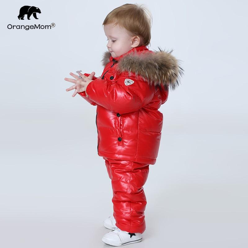 -30 grados Rusia ropa de invierno de los niños conjuntos ropa de niñas para la víspera de Año Nuevo niños parka chaquetas abrigo ropa de nieve