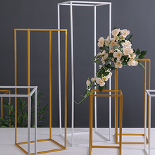 Wedding lead away wrought iron geometric frame rectangular body flower ornaments stage Artificial props