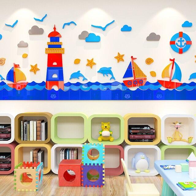 Cartoon ocean lighthouse acrylic removable DIY Children's room 3D Living room hotel KTV bar cinema decoration Wall Sticker