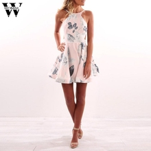 Фотография Womail Woman Sexy Clothes New Arrival Women Summer Floral Halter Dress Off Shoulder Back Mini Dress Beach Party Dresses Dec6