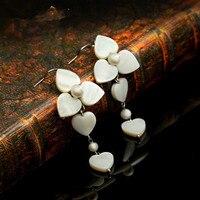 Natural pearl seashells s925 silver vintage earrings female accessories long design earrings elegant drop Earrings For Women