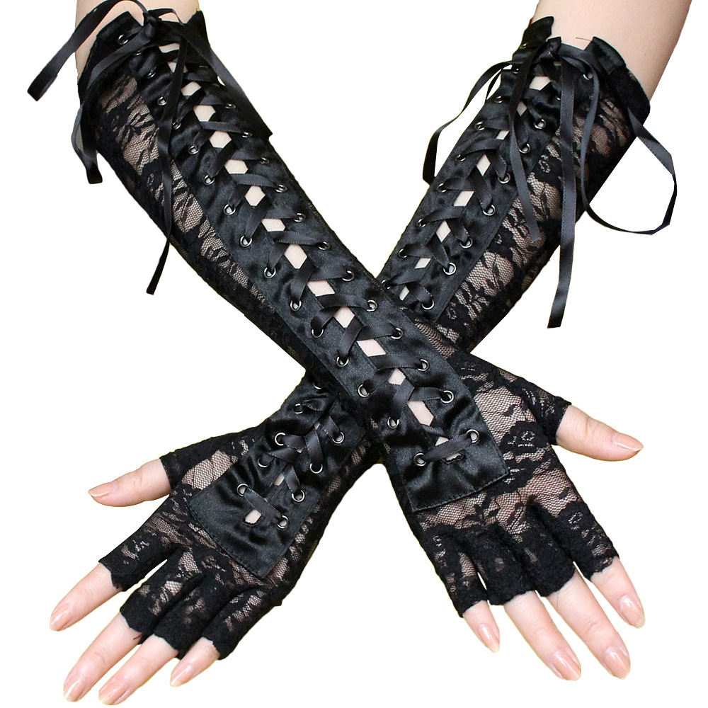 LONG NAVY BLUE BLACK SPANDEX LACE UP FINGERLESS GLOVES ARM WARMERS
