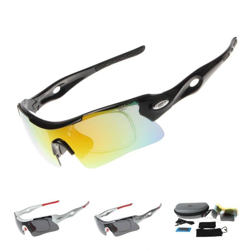 Prix pour Professionnel Polarisé Vélo Lunettes de Vélo Lunettes De Pêche Sports de Plein Air lunettes de Soleil UV 400 Avec 5 Lentille STS809 3 Couleur
