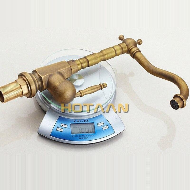 Home Improvement Accessories Antique Brass Kitchen Faucet 360 Swivel Bathroom Basin Sink Mixer Tap Cranetorneira YT-6025