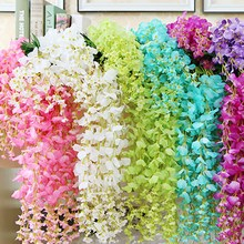 12pcs/Set 110cm Artificial Silk Wisteria Fake Garden Hanging Flower Plant Vine f